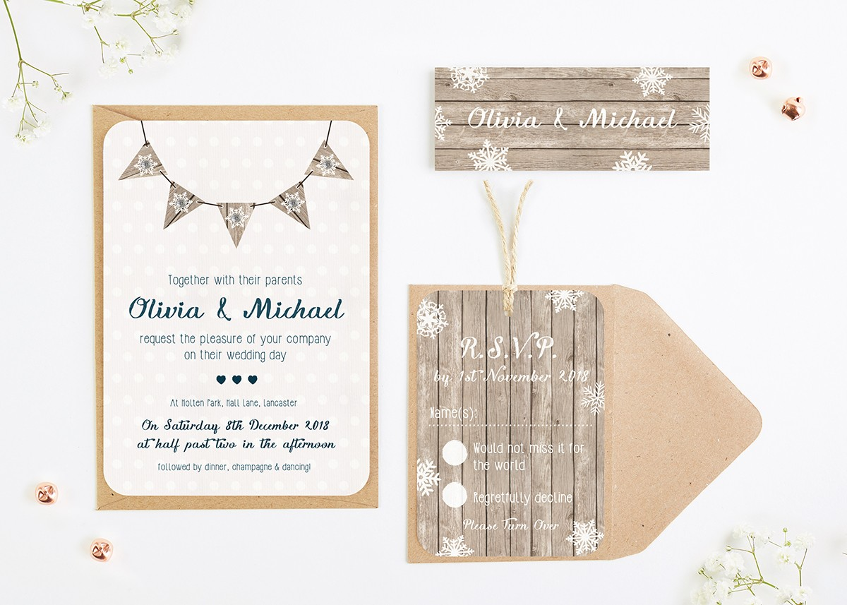 Winter wooden snowflake with bunting wedding invitation bundle ...