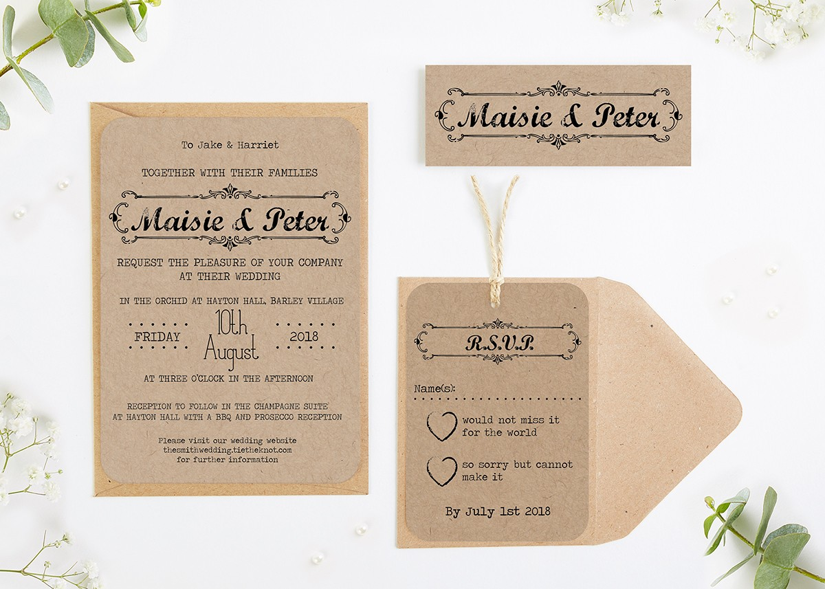 Kraft Wedding Invitations Bundle - norma&dorothy