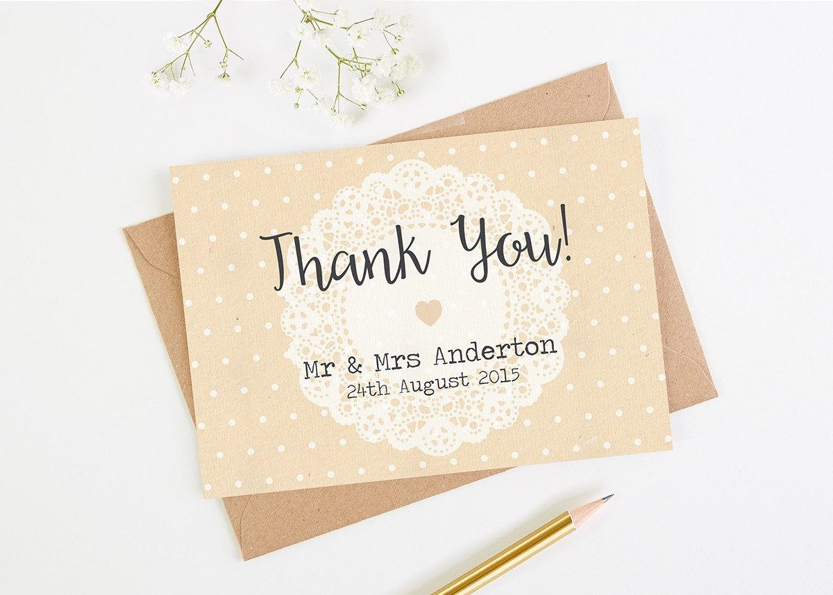 Wedding thank you cards normadorothy rustic lace wedding thank you cards thecheapjerseys Image collections