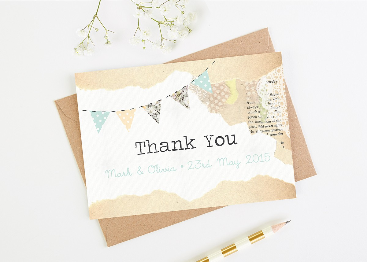 Country Bunting Wedding Thank You Cards Norma Dorothy
