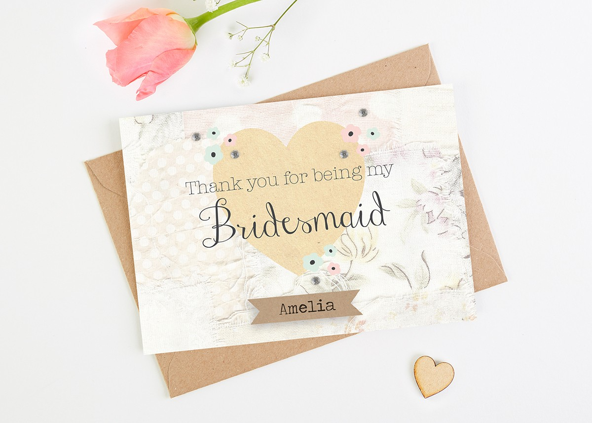 Thank You For Being My Bridesmaid Card Floral Patchwork