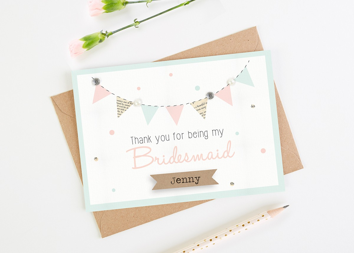 Thank You For Being My Bridesmaid Card - mint blush bunting ...