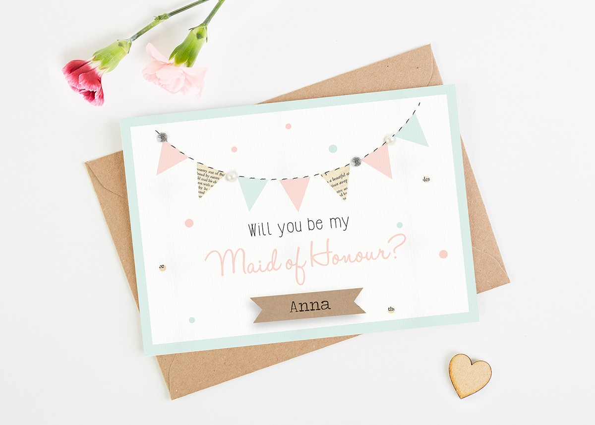 Thank You For Being My Bridesmaid Card Mint Blush Bunting