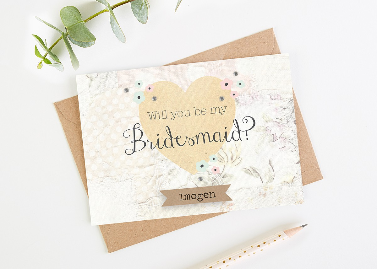 Will You Be My Bridesmaid Card Floral Patchwork
