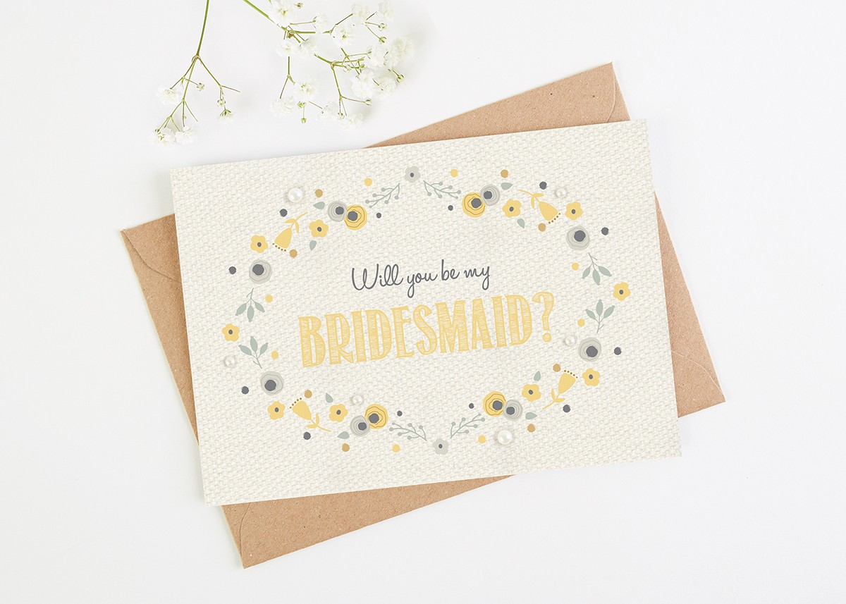 will you be my bridesmaid card floral yellow norma dorothy