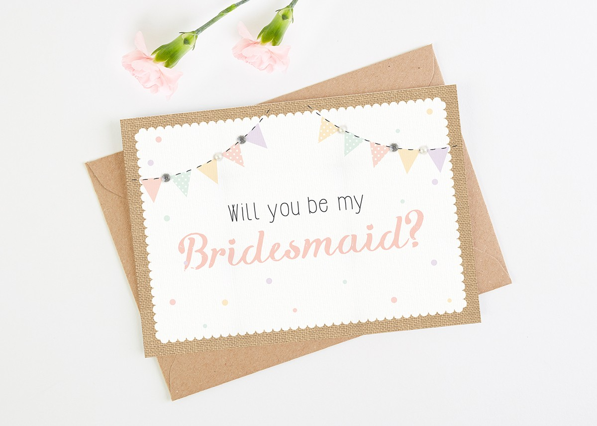 Will You Be My Bridesmaid Card Burlap Bunting Normadorothy