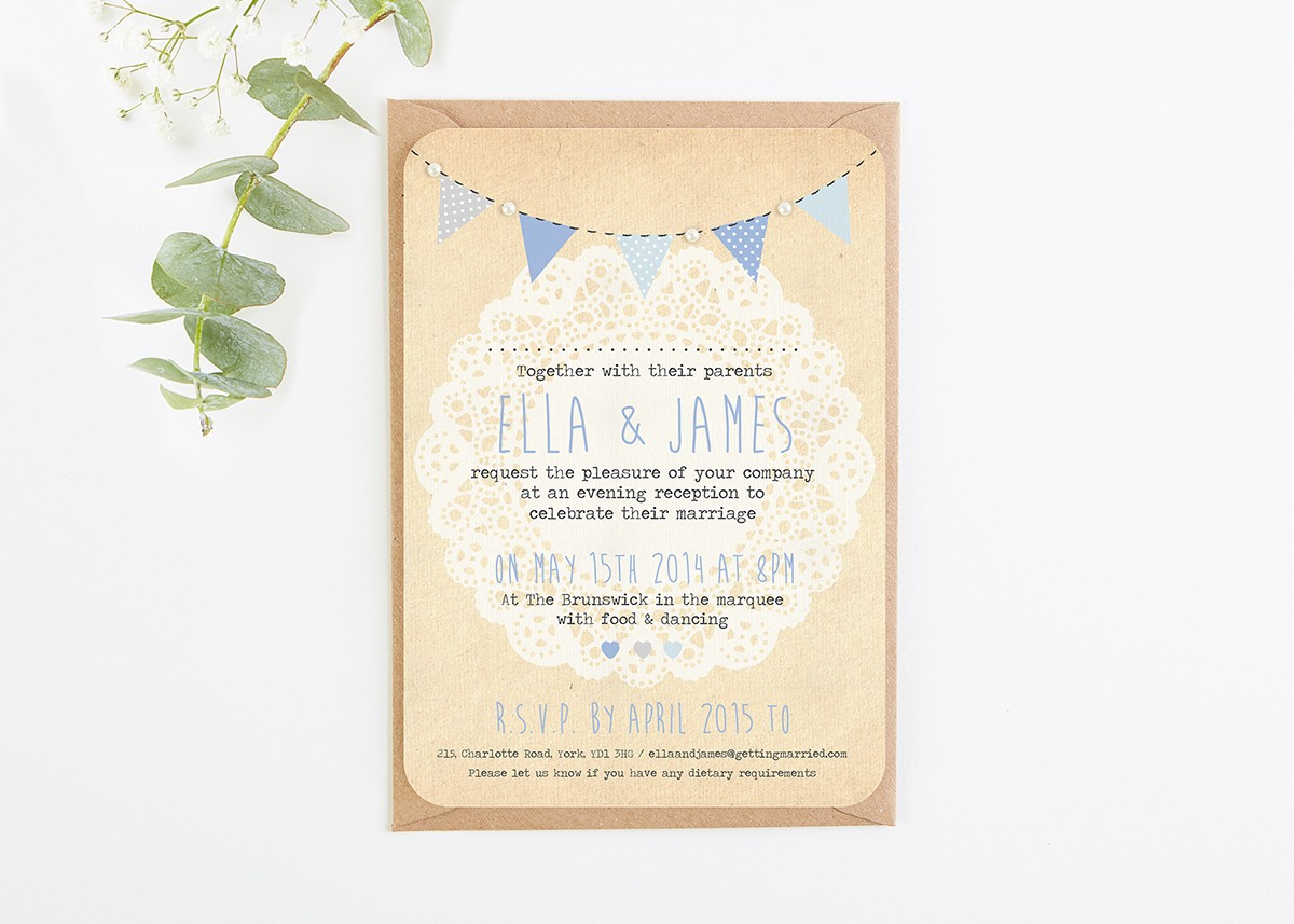Blue Ombre Bunting and Lace Evening Invitation with Pearls ...
