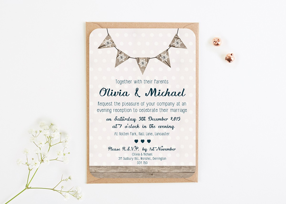 Winter Wooden Snowflake Evening Invitation With Gems