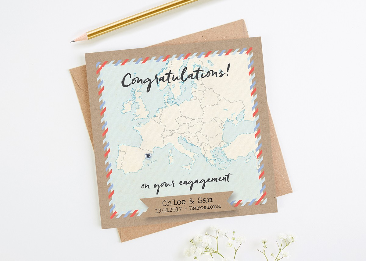 map engagement card personalised europe - Engagement Cards