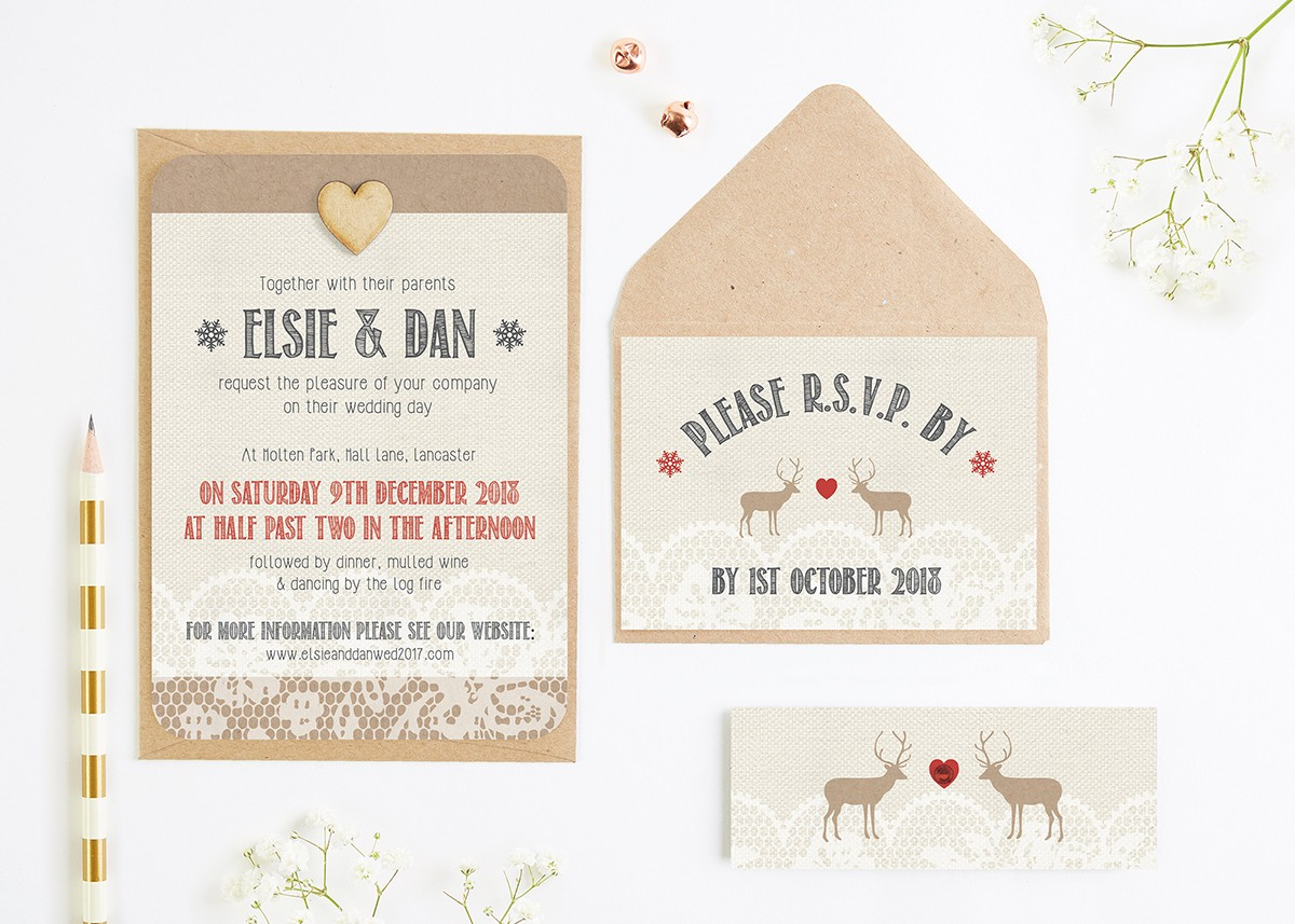 Lace Stag Wedding Invitation Bundle - norma&dorothy