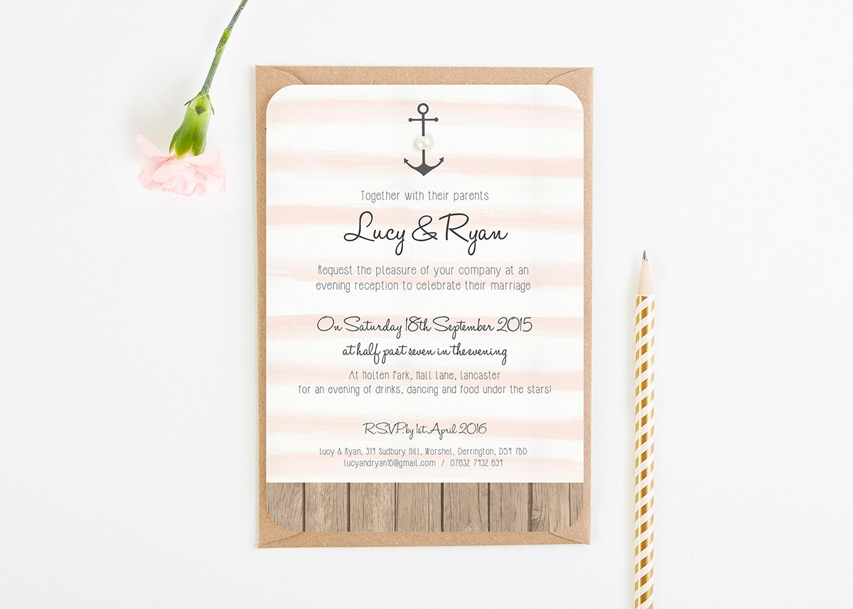 Wooden Nautical Stripe Pearl Evening Invite - norma&dorothy