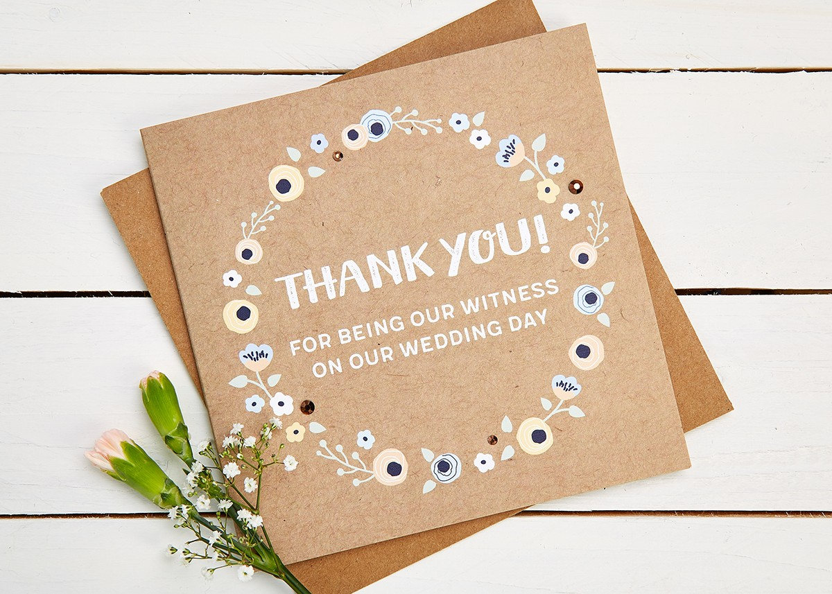 thank you witness wedding day card normaampdorothy