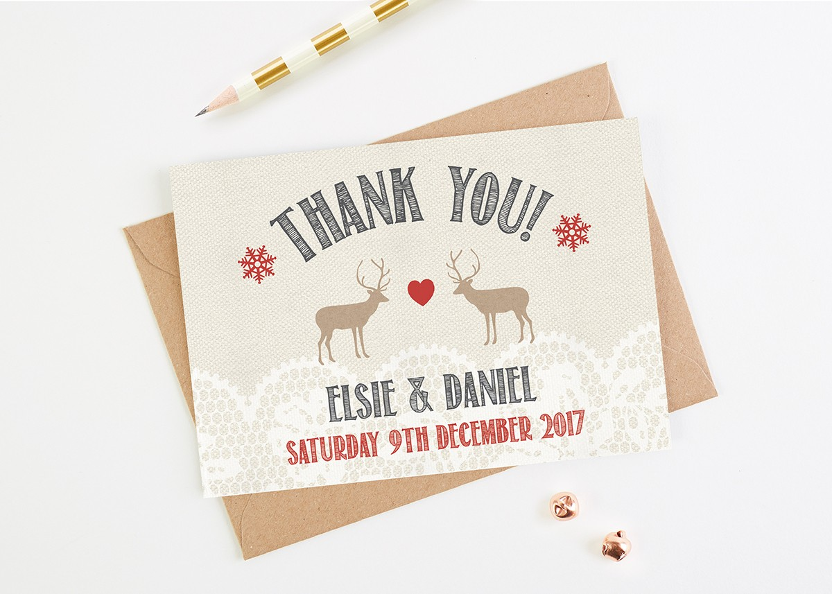 lace stag wedding thank you cards normadorothy