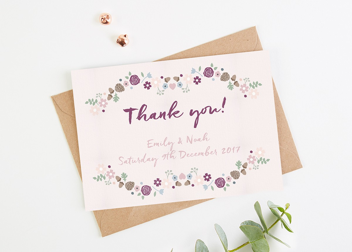 Winter Floral With Pine Cones Wedding Thank You Cards Normadorothy