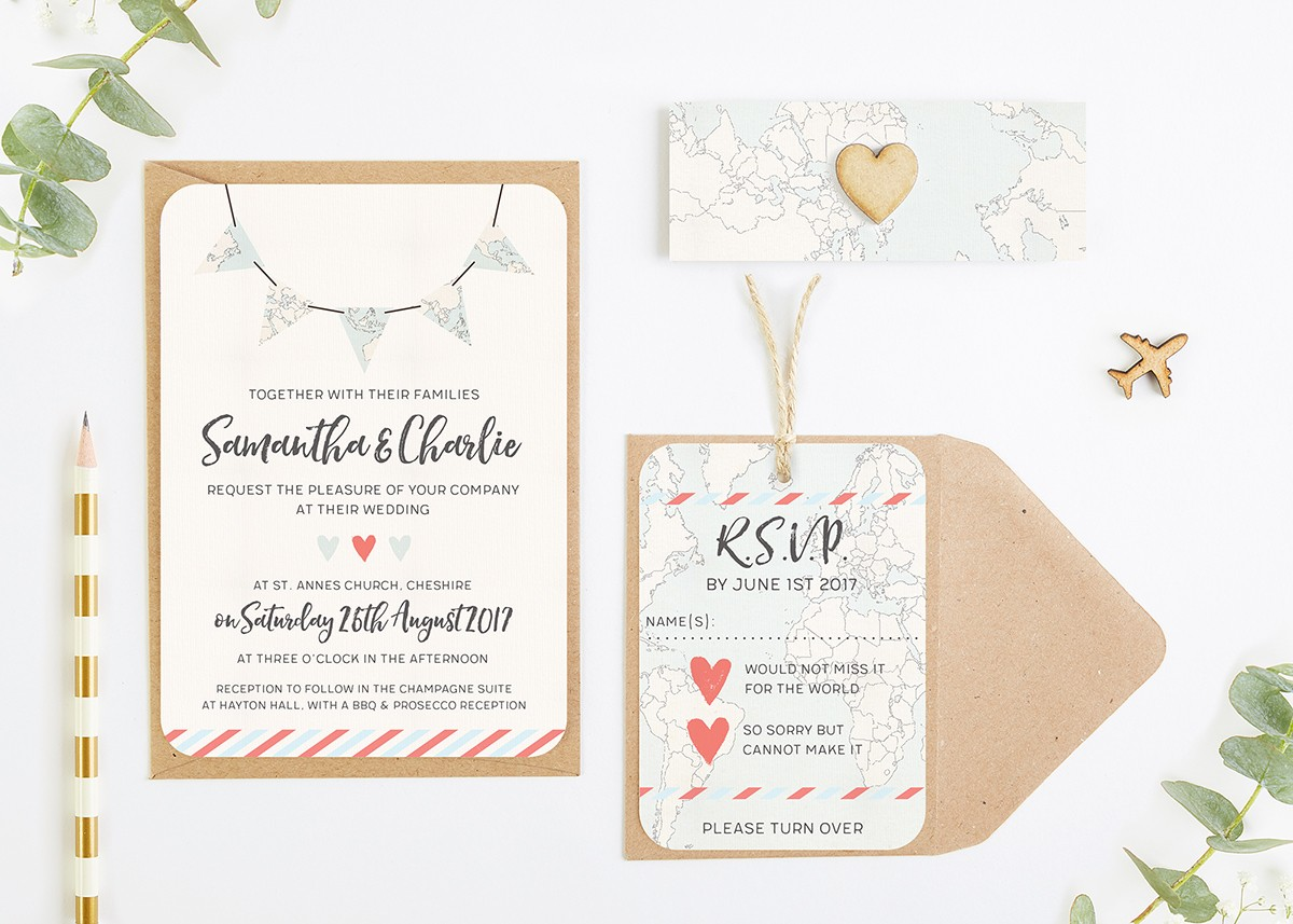 Travel Collection – Map Bunting Wedding Invitation Bundle ...
