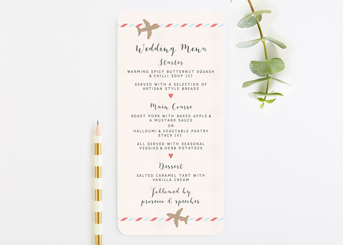 Travel Collection - Map Wedding Menu - norma&dorothy