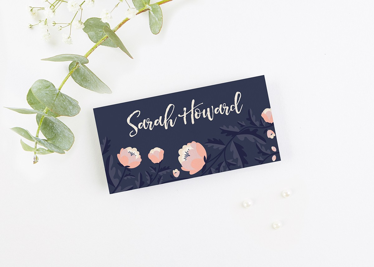 Blush And Navy Floral Folded Wedding Place Cards Normadorothy
