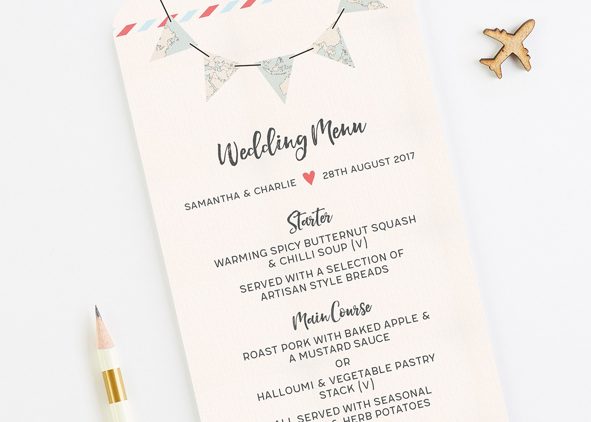 Travel collection map bunting wedding menu normadorothy stopboris Image collections