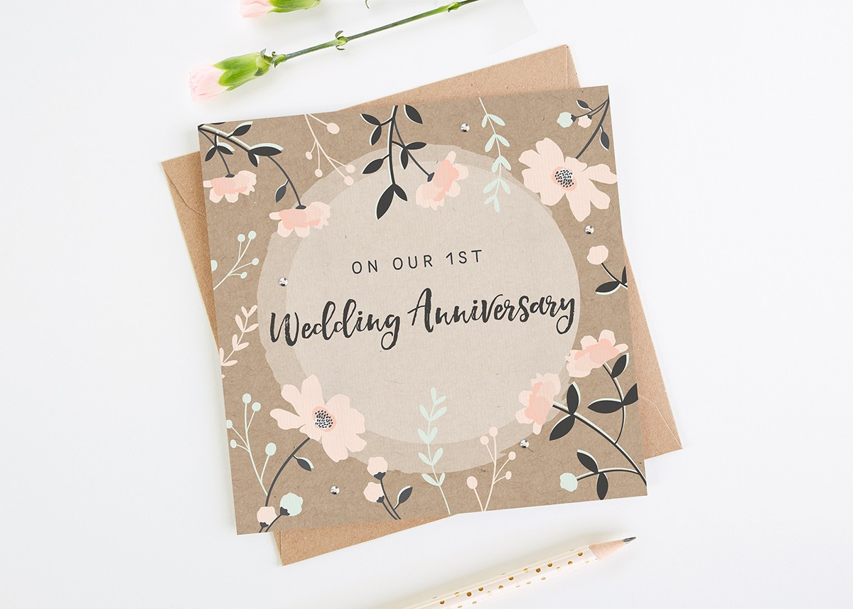 Wife st anniversary card kraft pink floral norma dorothy