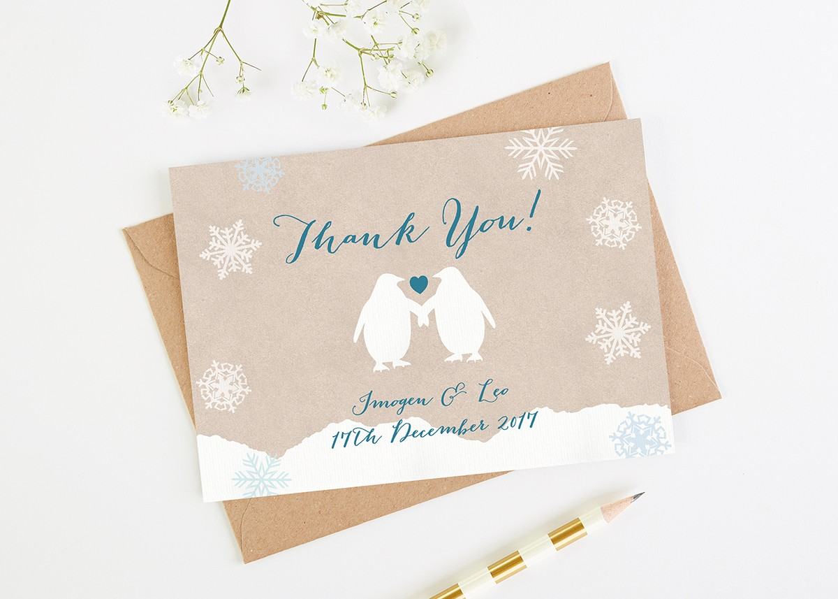 Rustic Penguin Wedding Thank You Cards Normadorothy
