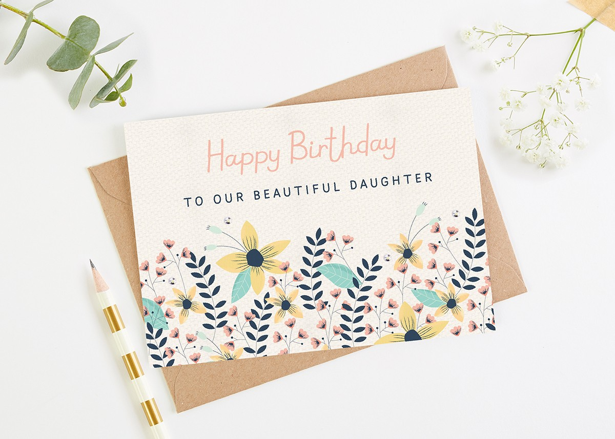 Daughter Birthday Card Floral Bright normadorothy