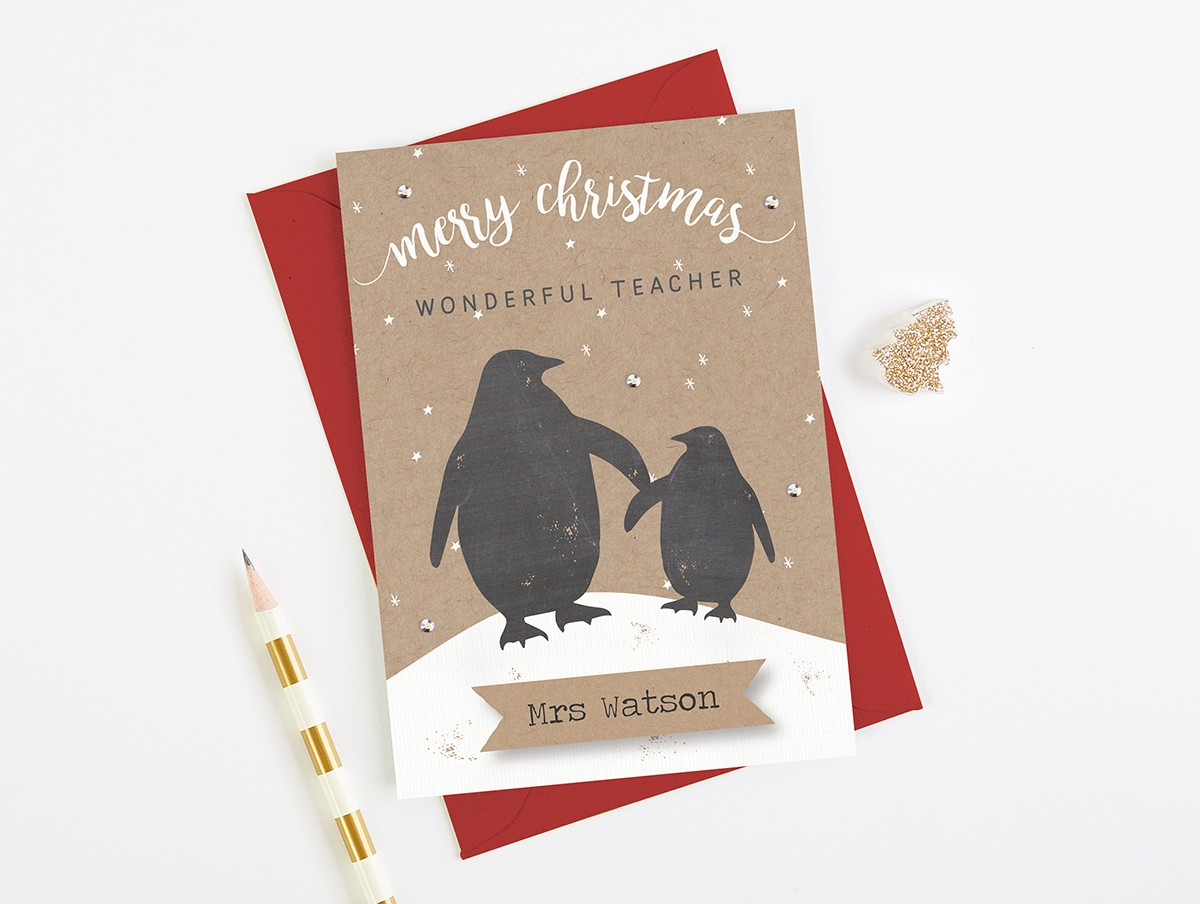Teacher Christmas Card Personalised - norma&dorothy