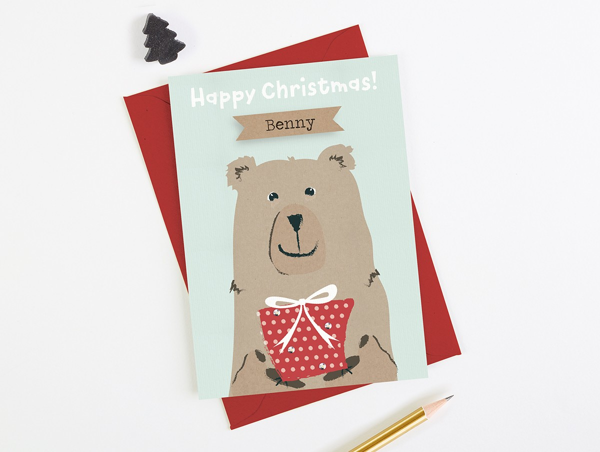 Personalised Children Christmas Card Bear Green - norma&dorothy