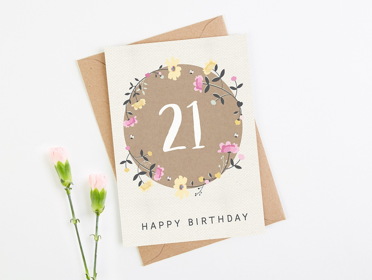 21st birthday card floral normadorothy bookmarktalkfo Images