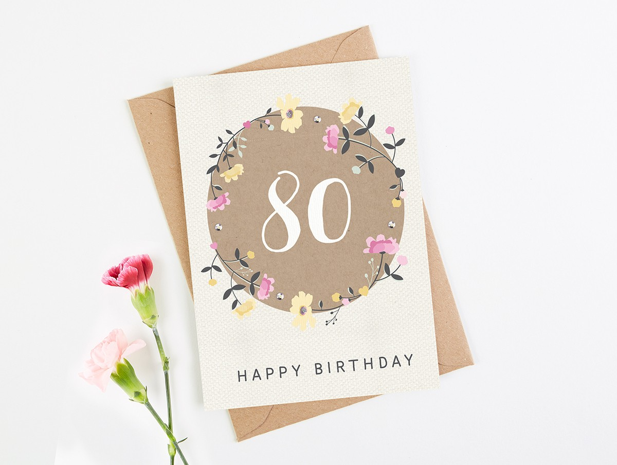 80th birthday card floral normadorothy bookmarktalkfo Image collections