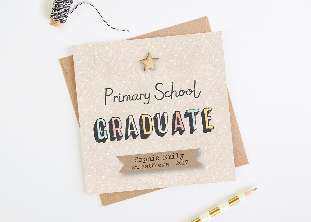 primary school graduation card personalised normadorothy