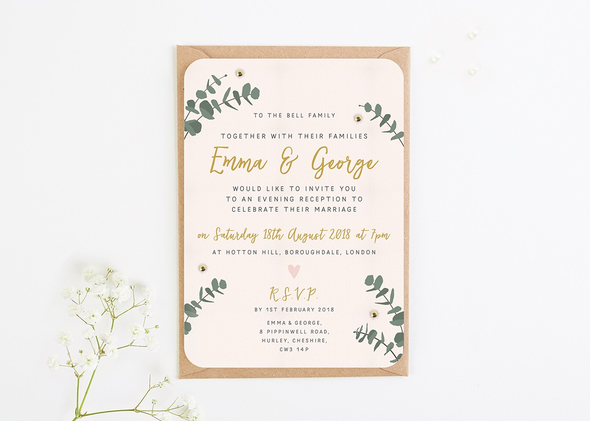 Evening Wedding Reception Invitations: Leafy Blush Evening Wedding Invitations