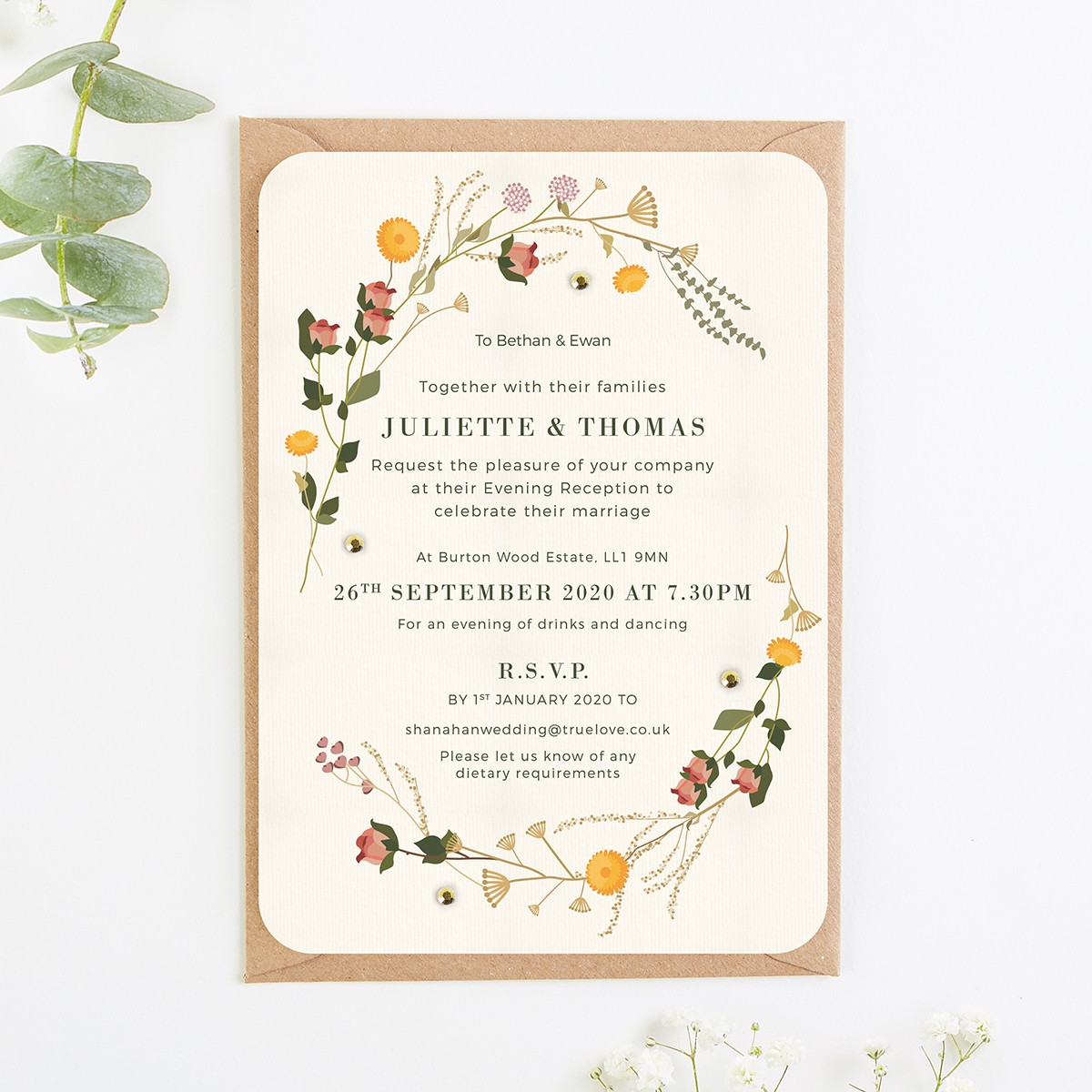 Free Sample Wedding Invites: Rustic Wildflowers Evening Wedding Invitations