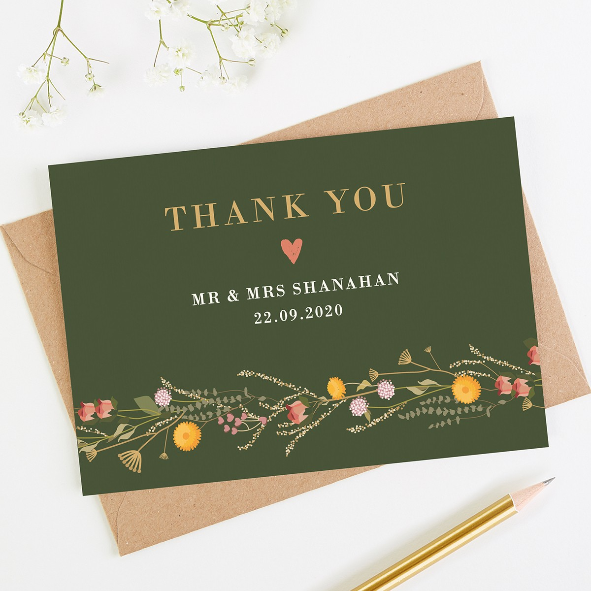 rustic wildflowers wedding thank you card  normadorothy