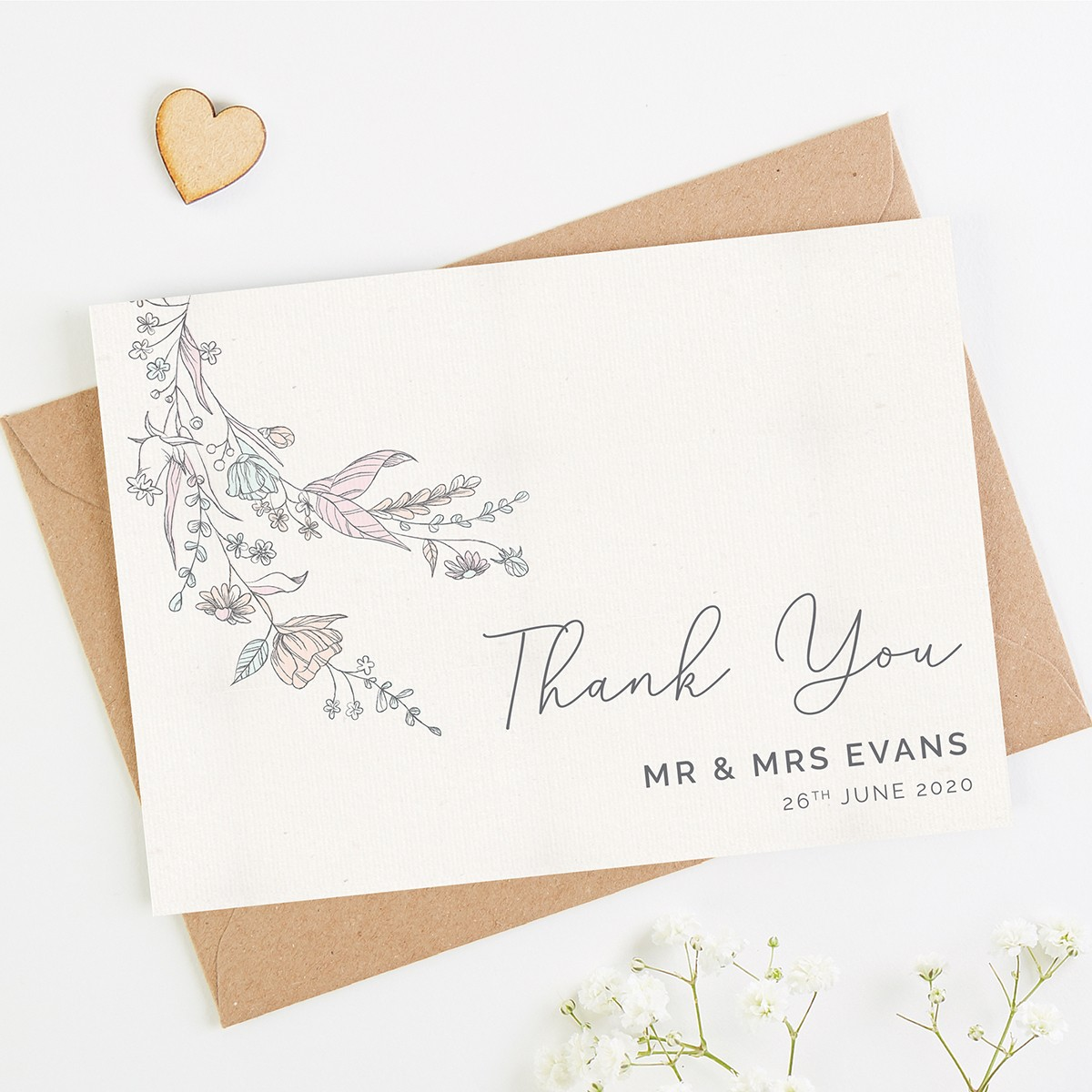 vintage floral wedding thank you card  normadorothy