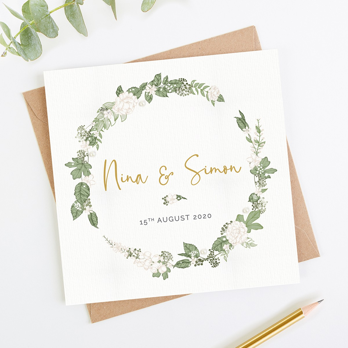 White Floral Folded Wedding Invitation