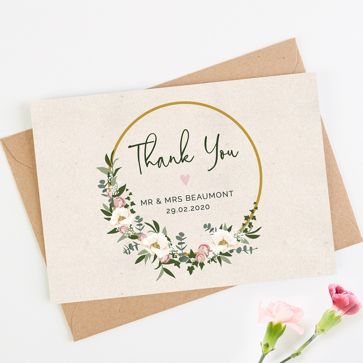 Wedding Thankyou Gifts: Floral Hoop Wedding Thank You Card