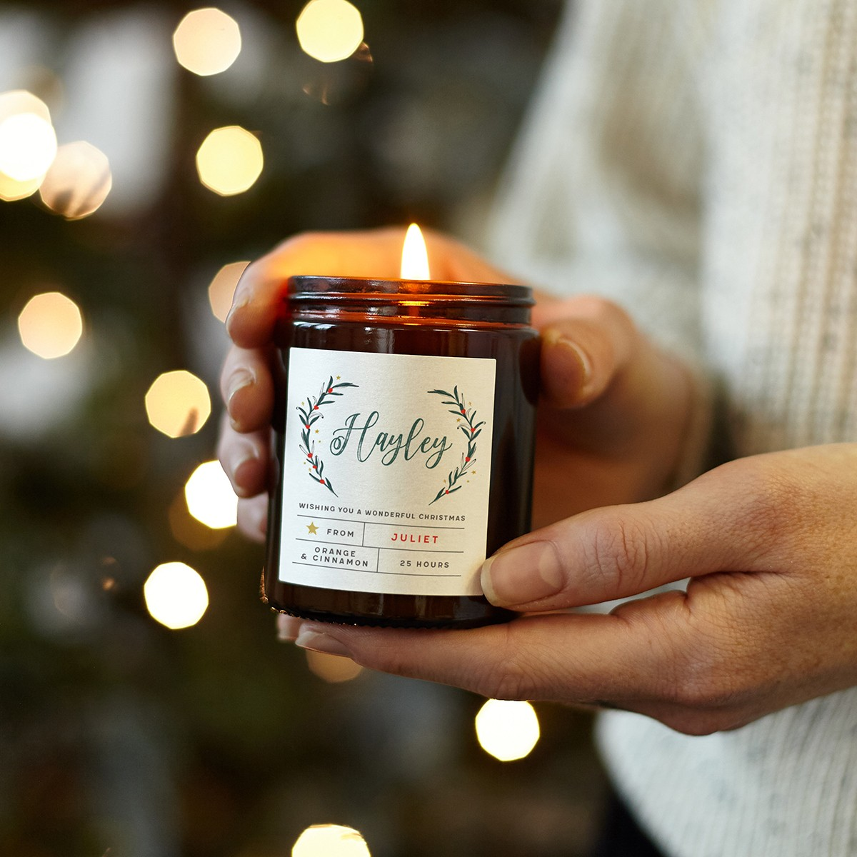 personalised christmas candle gift for her  normadorothy
