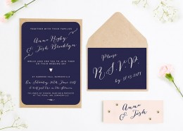 calligraphy collection navy blush wedding invitations