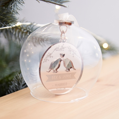 Wedding Date Glass Christmas Bauble