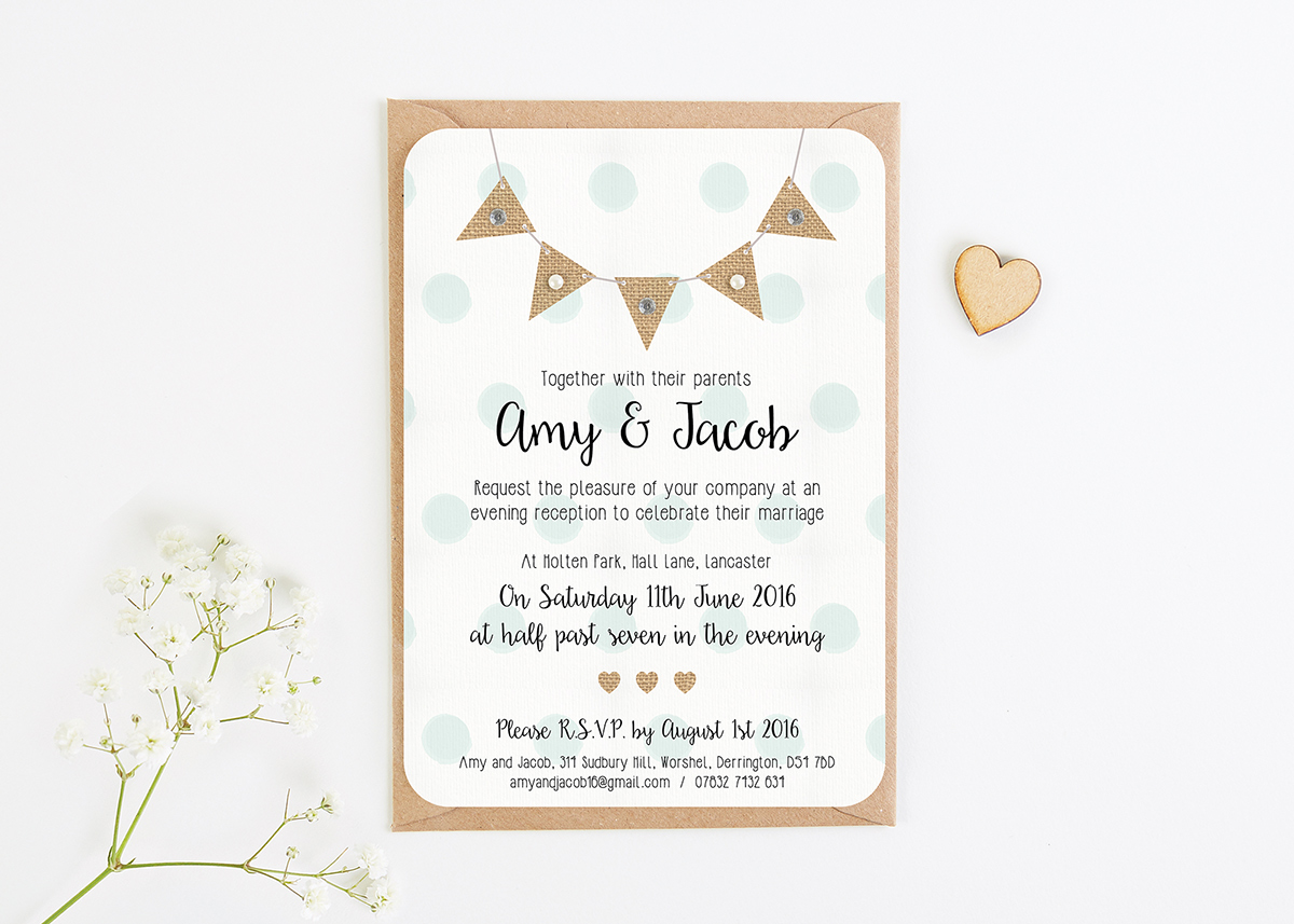 Burlap Bunting with Polka Dots Gem and Pearl Evening Invite ...